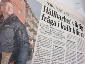 """Hållbarhet viktig fråga i kallt klimat"", Dagens Industri, 11 februari 2015"