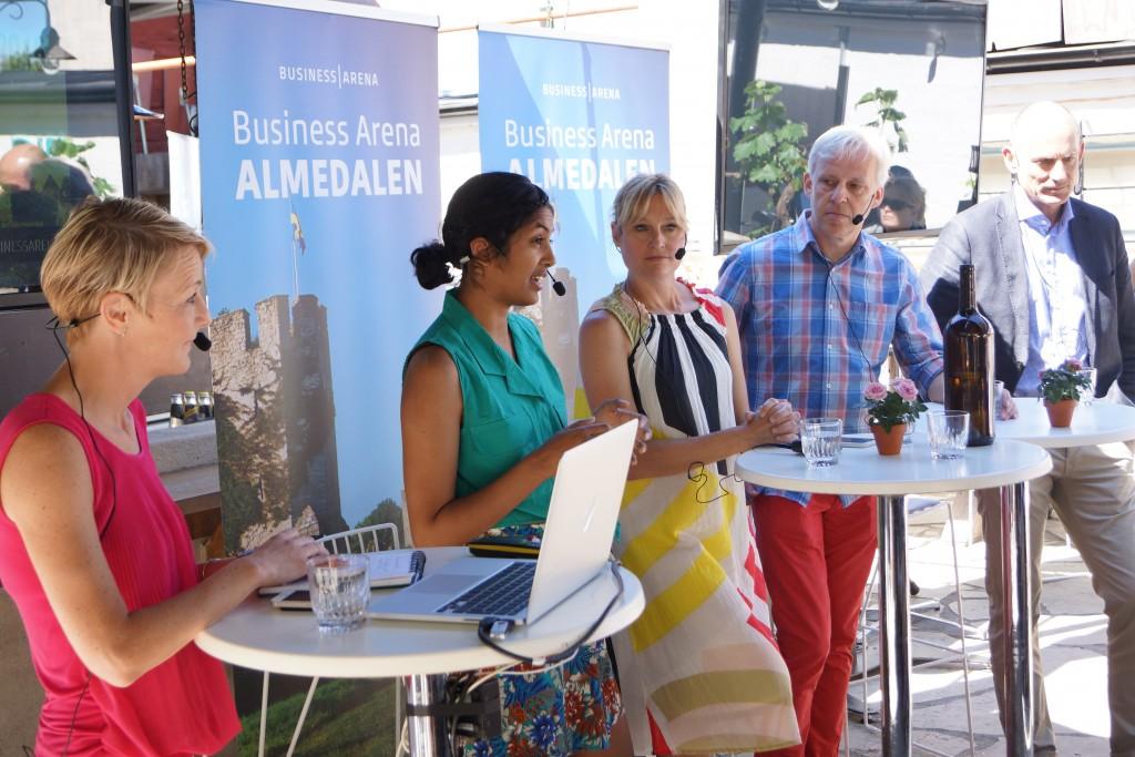 Andra från vänster: Amanda Lundeteg på Business Arena Almedalen 2015