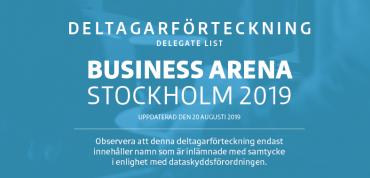Första deltagarförteckningen för Business Arena Stockholm